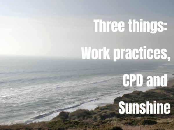 Three things: Work practices, CPD & Sunshine
